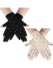 2 Pairs Sunblock Fingerless Gloves Touchscreen UV Protection Gloves Anti-Skid Driving Gloves Summer Outdoor Gloves for Women and Girls (Beige, Black)