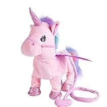 Tyler Lockwood Electronic Pet Electric Singing and Walking Unicorn Plush Toys (Red)