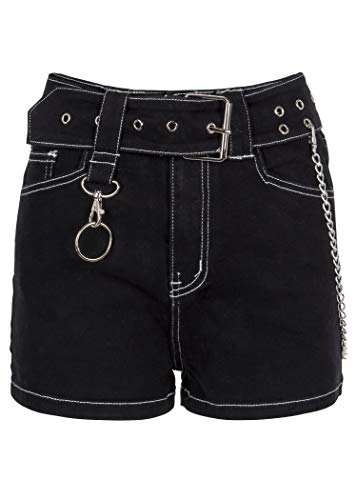 Womens Black Denim Hot Pants Shorts with Belt and Removable Chains - Size Large