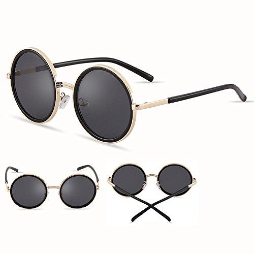 De De Polarizadas Nuevas Personalizadas Coreanas Sol Color Gafas Redondas LIUXUEPING Moda Retro Unisex Sol Negro Gafas Negro gHfnUF