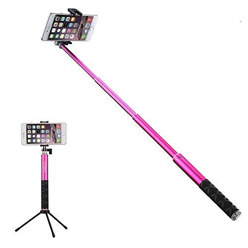 Foneso Bluetooth Selfie Stick mit Stativ für Smartphone, Kamera Rosa