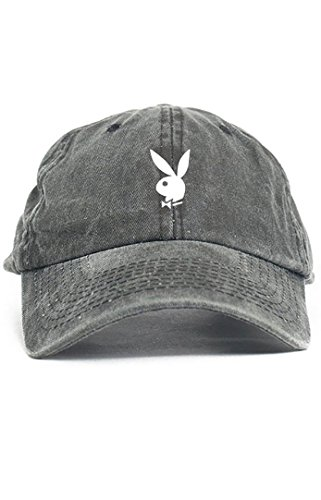 Playboy Bunny Unstructured Dad Hat-Black Denim