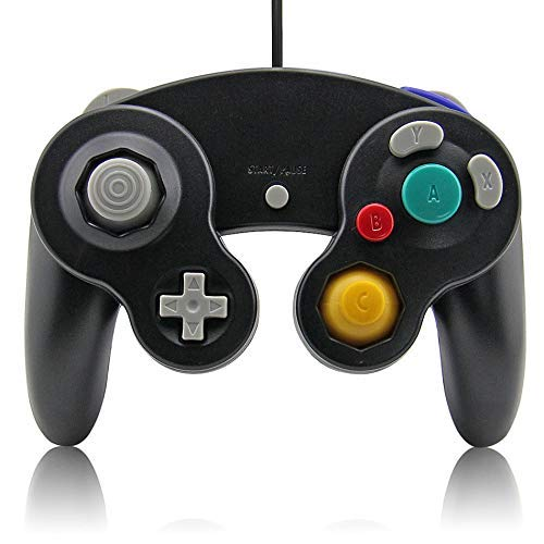 Gamecube Controller, Lyyes Classic Wired Controllers Compatible with Wii Nintendo Gamecube (Black-1pack) (Game Cube Wii Controllers)