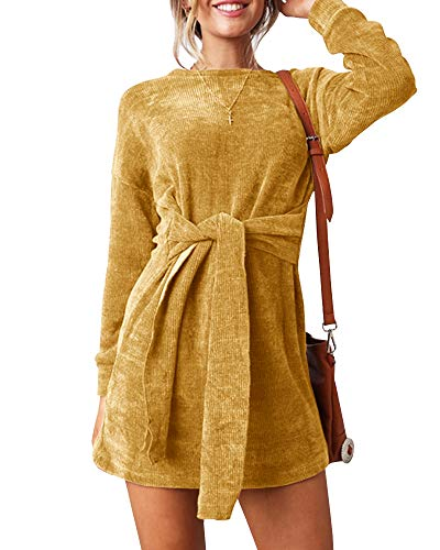 Velvet Dress (Ybenlow Womens Spring Velour Dress Long Sleeve Slim Fit Tie Waist Party Midi Fall Dresses Yellow)