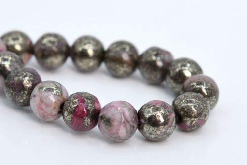 6mm Natural Pink Pyrite Beads Grade Round Gemstone Loose Beads 7.5'' Crafting Key Chain Bracelet Necklace Jewelry Accessories ()