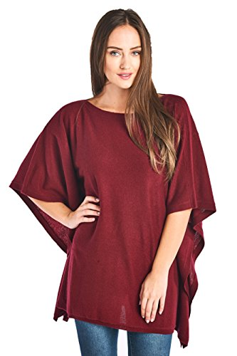 Mariyaab Women's 100% Cashmere Soft Wide Neck Wrap Poncho Sweater(150985, Burgundy, S/M)