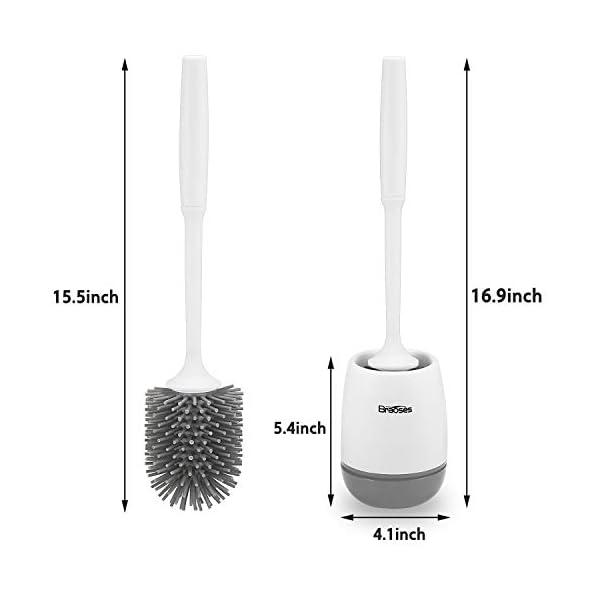 41BYiJyiWwL Braoses WC Bürste Wandmontage & Stehen Silikon Toilettenbürste mit Halter Set Langer Stiel klobürste und schnell…