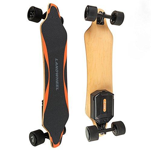 Bam Skateboard Decks Margera (Landwheel L3-AX Gen5 Longboard Electric Skateboard - Thriller Ride - Dual In-Wheel Brushless Motors 2200W - Click-In Swap Out Battery - 2-Speed Wireless 2.4Ghz Hand-Held Remote - 28 MPH - 7 Mile Range)