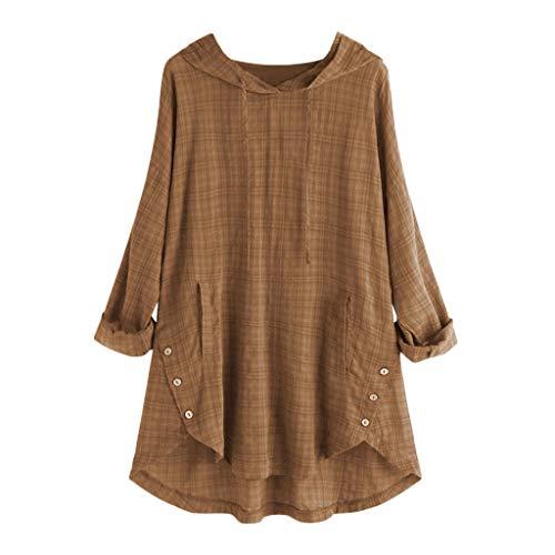 〓COOlCCI〓Women's 3/4 Sleeve Cotton Linen Jacquard Blouses Top T-Shirt, Regular Hem Asymmetrical Button Shirt Tunic Tops Yellow