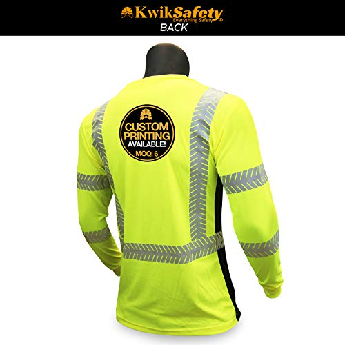 KwikSafety (Charlotte, NC) RENAISSANCE MAN (with POCKET) Class 3 ANSI High Visibility Safety Shirt Fishbone Reflective Tape Construction Security Hi Vis Clothing Men Long Sleeve Yellow Black XL by KwikSafety (Image #2)