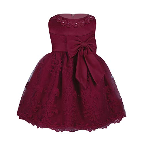 MSemis Baby Girls Embroidered Flower Dresses Christening Baptism Party Formal Dress Burgundy 9-12 Months -