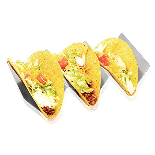 "Stainless Steel Taco Holder Stand, Taco Tray Style, Rack Holds Up to 3 Tacos Each, Oven Safe for Baking, Dishwasher and Grill Safe, 4"" x 8"", by CESHUMD (6 PACK) by CESHUMD (Image #7)"