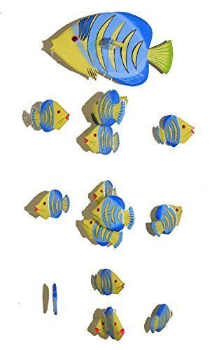 One World is Enough Yellow Kissing Fish Mobile from Bali with 16 Hand Painted Fish - Suitable for Children - Fair Trade