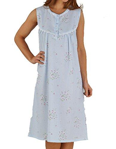 Slenderella Floreale Seersucker Blu Camicia da notte ND5221