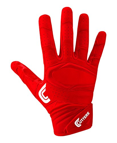 Cutters Gloves S451 Rev Pro 2.0 Receiver Football Gloves with Sticky C-Tack Grip, SOLID RED, Adult XL