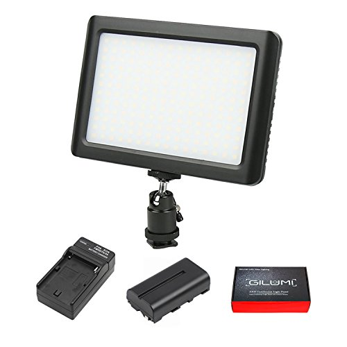 LED Video Light, GILUMI 192pcs Ultra Thin Dimmable High Power Panel Lamp on Camera Video Light with Battery for Canon Nikon Sony DSLR Camera/Camcorder by GILUMI