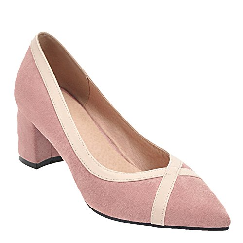 Latasa Womens Pointed-Toe Chunky Pumps Pink