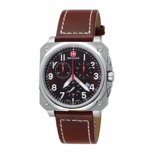 Wenger Men's 77014 AeroGraph Cockpit Chrono Brown Leather Strap Watch