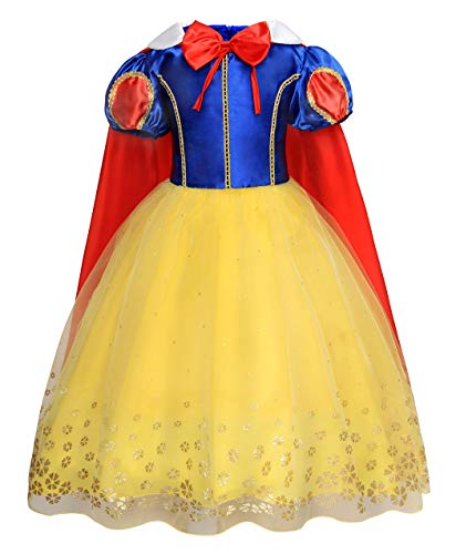 Jurebecia Big Girls Snow White Dress Princess Halloween Party Costumes Dress with Tulle Cape Size 10]()