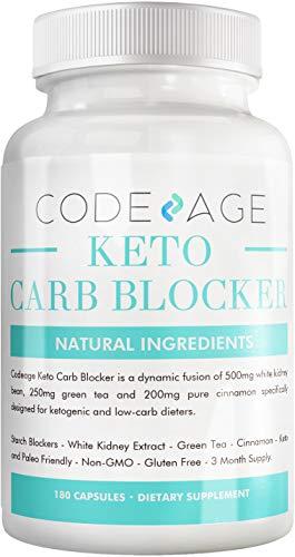 Codeage Keto Carb Blocker (Extra Strength) - White Kidney Bean Extract Carb Blocker + Green Tea Extract + Pure Cinnamon Bark for Keto Cheat Carb Intercept + Sugar Blocker - 180 Capsules