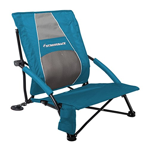 STRONGBACK Low Gravity Beach Chair with Lumbar Support, Blue
