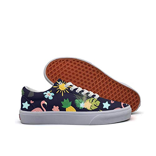 Horace Browne Women Flamingo Pineapple and Coconut Canvas Sneaker Skate Shoes Fashion Low Cut Lace up Casual Shoes
