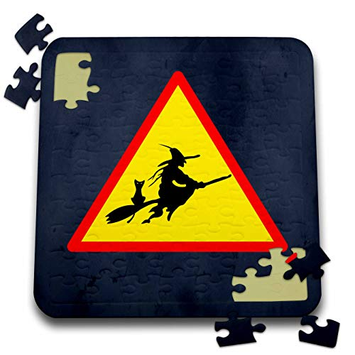 Sandy Mertens Halloween Designs - Witch Crossing with Black Cat and Broom Warning Sign, 3drsmm - 10x10 Inch Puzzle (pzl_290246_2) ()