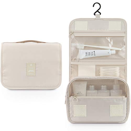 Makeup Bag,Mossio Unisex Multifunction Bottles Grooming Shampoo Travel Case TSA Approved Beige ()