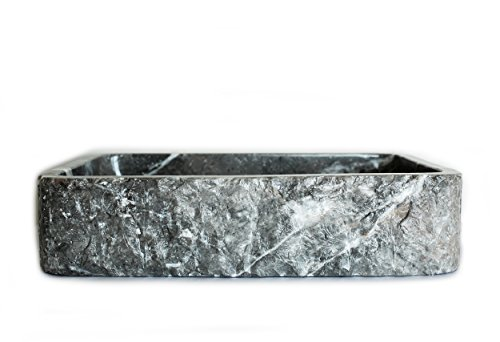 (Shades of Stone Rectangle Bathroom Vanity Sink Above Counter Vessel, Undercounter or Apron Front Farmhouse Installation Styles, 100% Stone Handcarved, Free Matching Tray. (Dark Gray Marble))