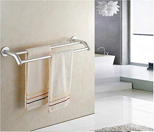 Space Aluminum Double Pole Punch-Free Towel bar,Matte Anti-Corrosion Towel Rack,for Bathroom Kitchen-B 40cm(16inch)