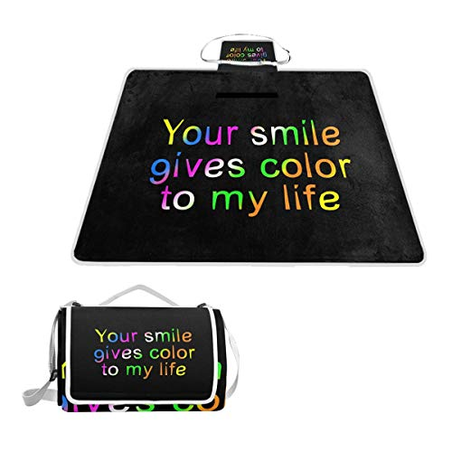 - Your Smile Gives Color to My Life Picnic Blanket Outdoor Picnic Blanket Tote Water-Resistant Backing Handy Camping Beach Hiking Mat 57