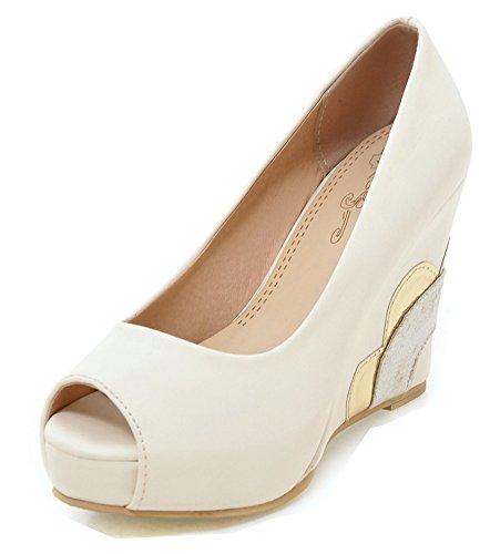 Bal Sandales Talon Toe Blanc Chaussures Peep Haut à Aisun Elégant Femme 8CwqWpH