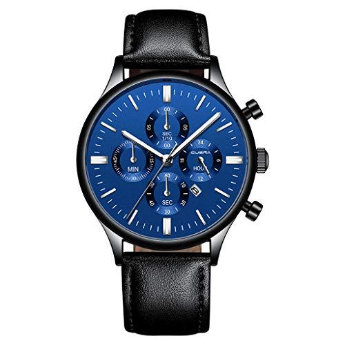 XBKPLO Mens Quartz Watch,Waterproof HD Glass Analog Wrist Multi-Needle Business Mechanical Watches Fashion Gentleman, Leather - Resistant Water Glass Mens Crystal
