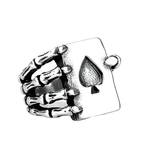 Epinki Jewelry Stainless Steel Vintage Punk Rock Men Silver Skeleton Fingers Poker Spades Ring 2CM Size 8