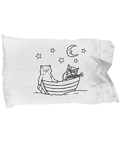 Colortime pillowcases with owl and pussycat. Kids' fun coloring time by MugsGaloreGifts