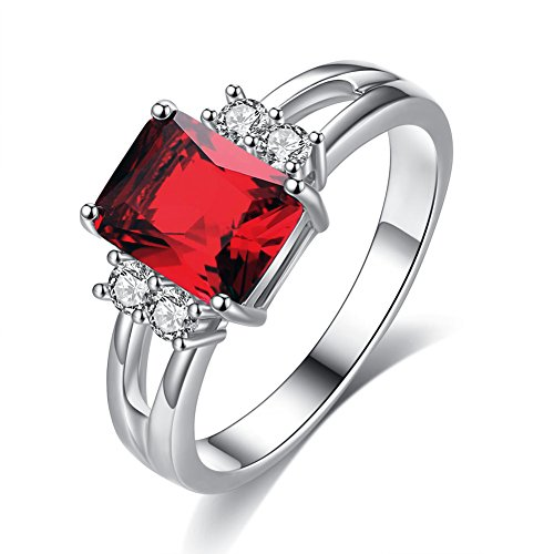 (Womens Zircon Platinum Plated Ring With Large Square Crystal Stone Inlay Diamond Engagement Wedding Jewelry Available in Size 6,7,8,9,10 (Red, 8))