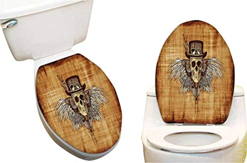 - Waterproof Decorative Toilet Cover Stickers Cool Skull Parchement Background Retro Style Dead Eagle Wings Gothic Toilet Seat Sticker Decoration 13