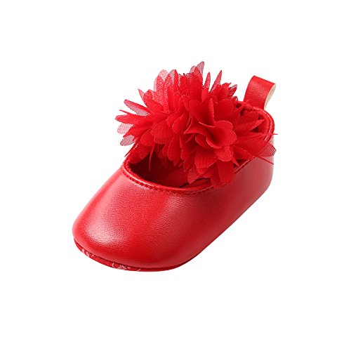 Red Sole Lace - Baby Girls Lace Bow Pattern Soft Sole Princess No-Slip Shoes First Walkers Shoes (11cm/4.25in, C-Red)