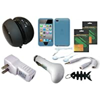iShoppingdeals - Speaker Charger Skin Case Bundle for Apple iPod Touch 4G 4th Generation 8GB 16GB 32GB: Blue Soft Skin Case Cover + USB Car Charger + USB AC Wall Charger + Black Mini Speaker + Stereo Headphone + Headset Splitter + Screen Protector Film + Smart Headphone Wrap