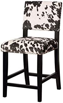 Riverbay Furniture Cow Print Counter Stool in Black