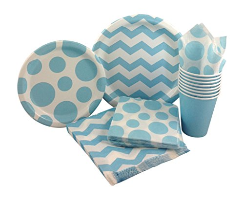 Pastel ...  sc 1 st  EventCompass & Pastel Blue u0026 White Chevron Dot Party Supply Pack! Bundle Includes ...