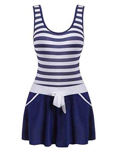Ekouaer Striped Patchwork Swimdress Swimwear product image