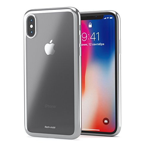 iPhone X Silicon Protective Case: Minimalist, Slim Fit, Anti-Scratch Protection Cover for IPhone X/ Anti-Slip Texture, Sturdy, Shockproof IPhone 10 Cover In 5 Trendy Colors/Great Gifting Idea (Silver) by Flash-Mobi
