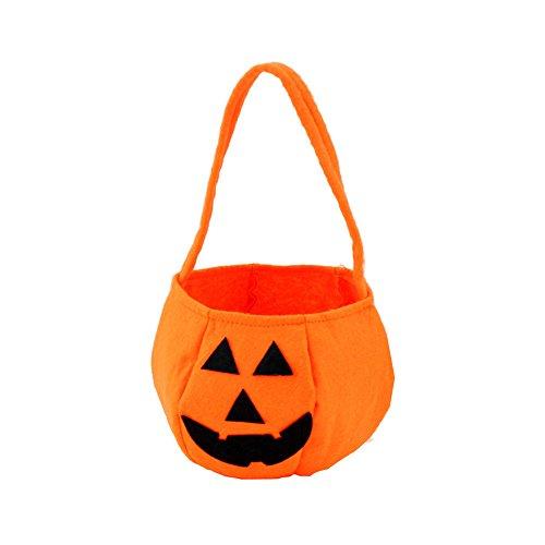 "Pumpkin Halloween Trick or Treat Bags by Hello Halloween | Traditional Halloween Candy Bag | Ideal for Kids, Sturdy and Fun Halloween Goody Bags | Non-Woven Fabric, 5.1"" x 5.1"" (Pumpkin Halloween Treats)"