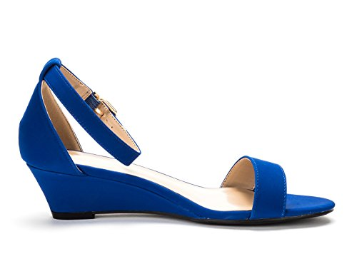 DREAM PAIRS Womens Ingrid Ankle Strap Low Wedge Sandals Royal Blue xDB8BH7zM3