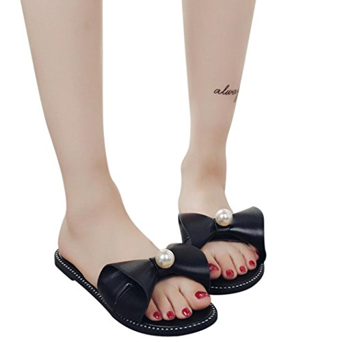 HUHU833 Women Solid Bowknot Pearl Round Toe Flat Heel Slipper Beach Sandals Black RhiiPFX