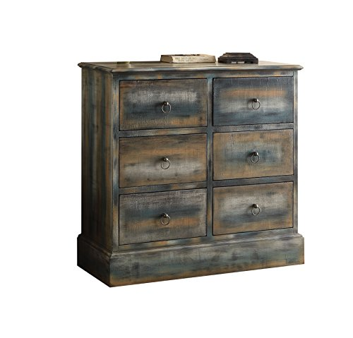 ACME Furniture 97255 Glancio 6-Drawer Chest, One Size, Antique Oak & Teal