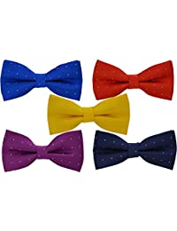 5 Pcs Heymei Men's/Boy's Ajustable Pre-Tied Formal Necktie Bow Tie Jacquard Dots B2 (5 Colors Blue Red Yellow Purple Dark Blue)