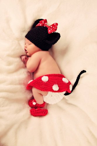 Baby Girl Crochet Outfits Infant Photo Prop Clothes Cute Knit Photography Handmade Costume Hat Cap Set BLUETOP ()