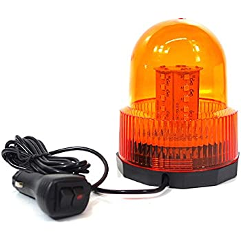 Xprite High Intensity Super Bright Yellow(Amber) Revolving 30 LED 5050 SMD 15W LED Emergency Vehicle Magnetic Mount Strobe and Rotating Light Beacon Pattern